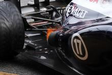 Flame coming from the exhaust of the Williams FW35.28.02.2013.