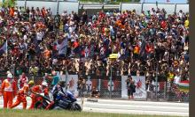 Lorenzo in front of fans, MotoGP race, Catalunya MotoGP 2013