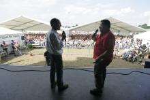 Eurosport commentators Toby Moody and Julian Ryder, Day Of Champions Auction, Donington MotoGP, 2006