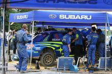 Subaru service area.WRC Rally of Japan, 31st August - 2nd September 2006.