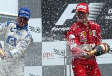 Canadian GP winner, Michael Schumacher with brother Ralf, who was later disqualified from 2nd place