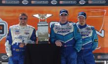 Alex Tagliani, Paul Tracy and Patrick Carpentier with the Natons Cup in Mexico City.