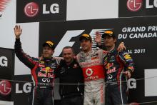 12.06.2011- Race, Jenson Button (GBR), McLaren  Mercedes, MP4-26 race winner, Sebastian Vettel (GER)