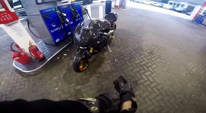 Motorcycle at petrol station