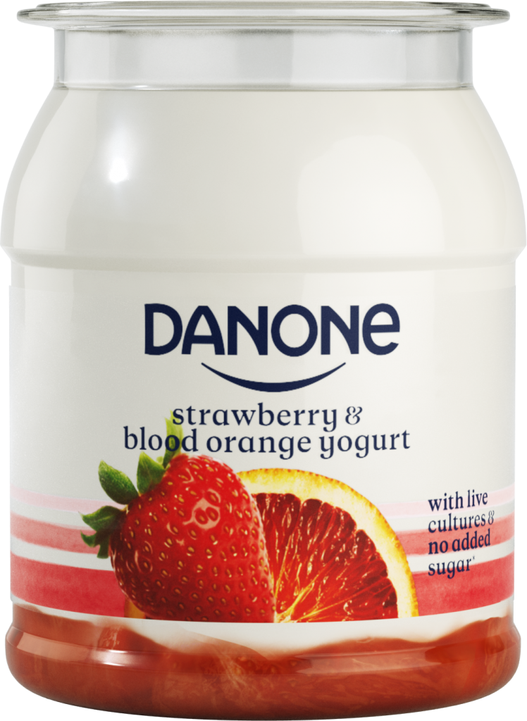 Danone strawberry blood orange yogurt single pot live cultures no added sugar recyclable b corp
