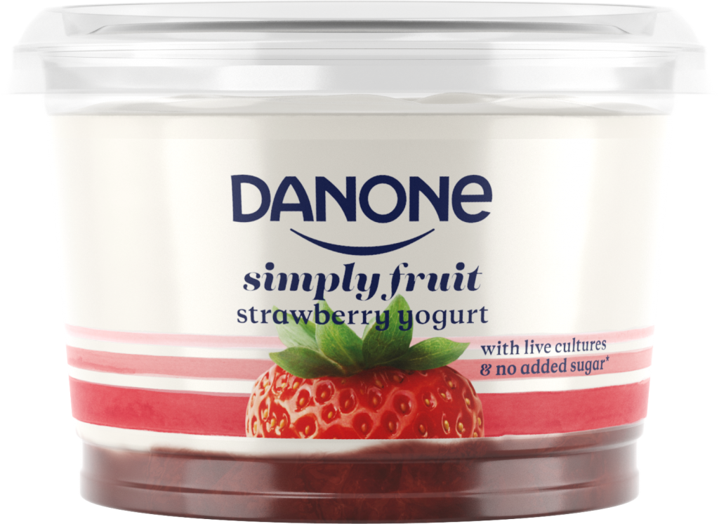 Danone strawberry yogurt big pot live cultures no added sugar recyclable b corp