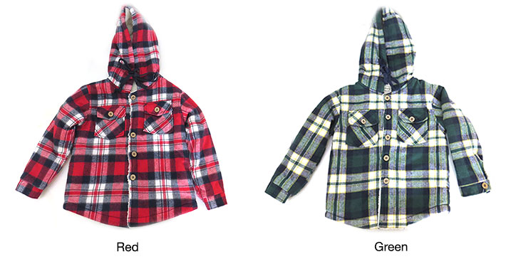 Thick Cotton Plaid Kids Hoodie