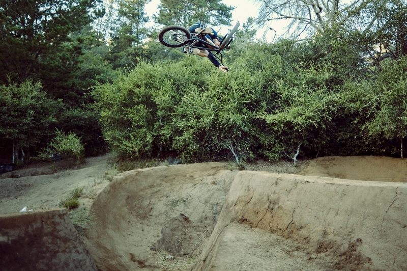 Cob Hyde folding a table to the max on the fourth jump of Mainline.