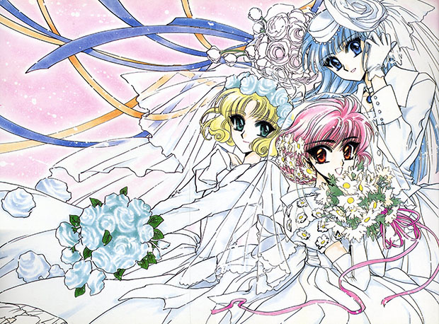 "Le protagoniste di ""Magic Knight Rayearth"" in abito da sposa."