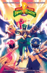 "Copertina del primo volume di ""Mighty Morphin Power Rangers""."