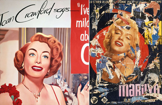 Confronto fra James Rosenquist e Mimmo Rotella.