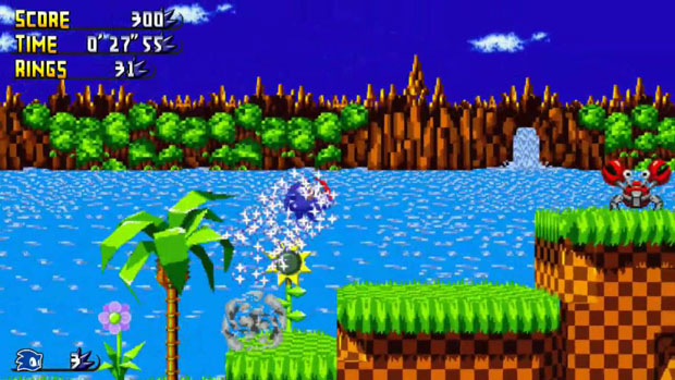 "Screenshot del videogioco ""Sonic the Hedgehog""."