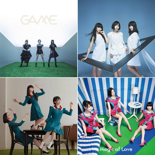 "Copertine di ""GAME"", ""⊿"", Spending all my time"" e ""Magic of Love"" delle Perfume."