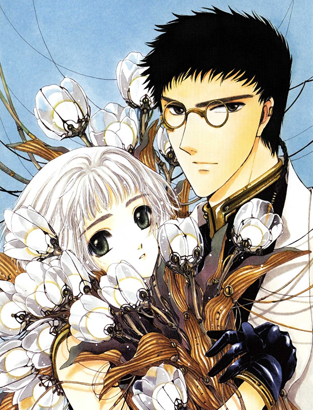 "Illustrazione da ""Clover"" di CLAMP."