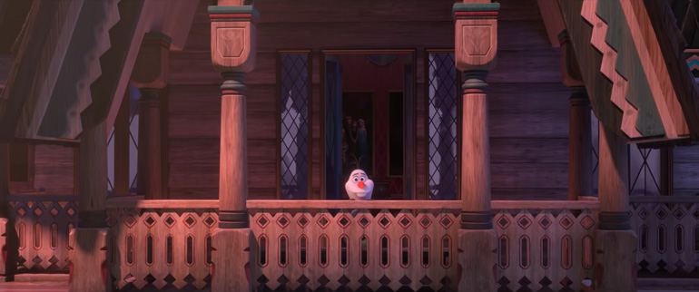"Fotogramma del cortometraggo ""I Am with You"" dalla serie ""At Home with Olaf"" dei Walt Disney Animation Studios."