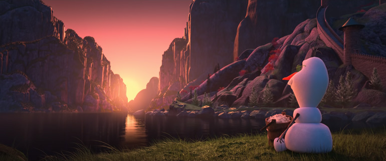 "Fotogramma del cortometraggo ""Sunrise"" dalla serie ""At Home with Olaf"" dei Walt Disney Animation Studios."
