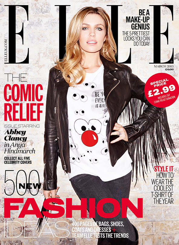 Abbey Clancy ELLE Comic Relief Red Nose Day cover