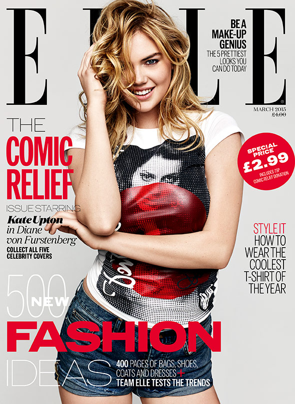 Kate Upton ELLE Comic Relief Red Nose Day cover