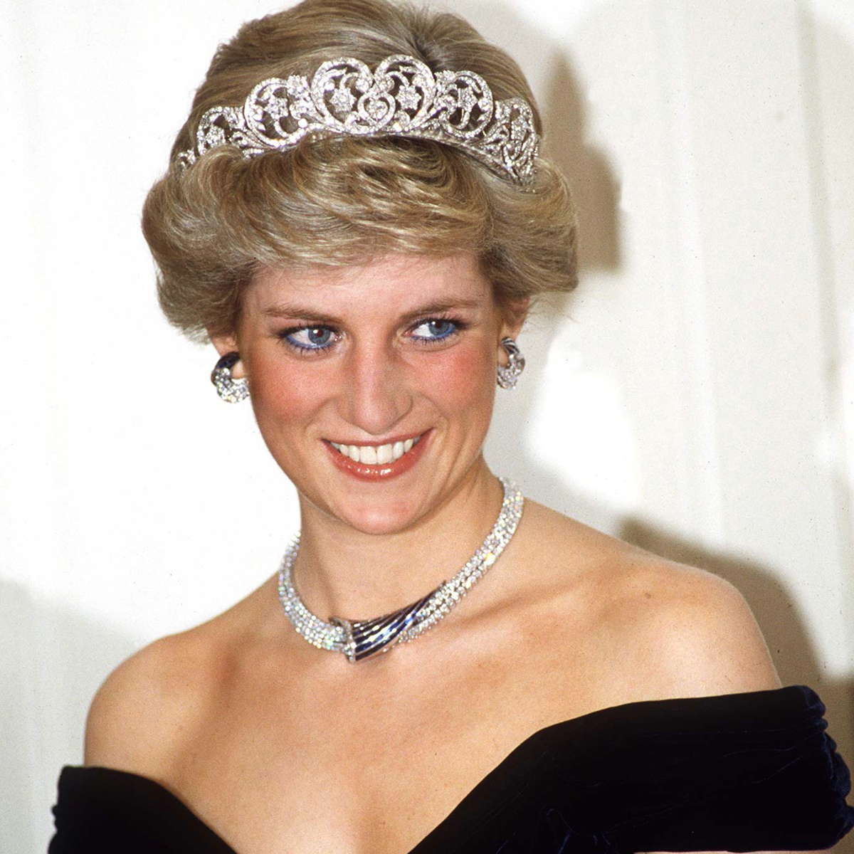 princess diana wearing black dress with tiara-blue eyeliner-skincare makeup and beauty secrets-120814-goodhousekeeping.co.uk