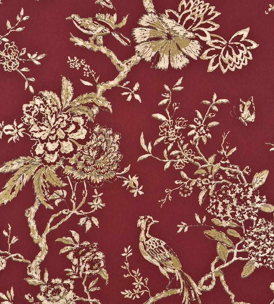 Oriental bird red wallpaper holcott gp j baker for Oriental wallpaper