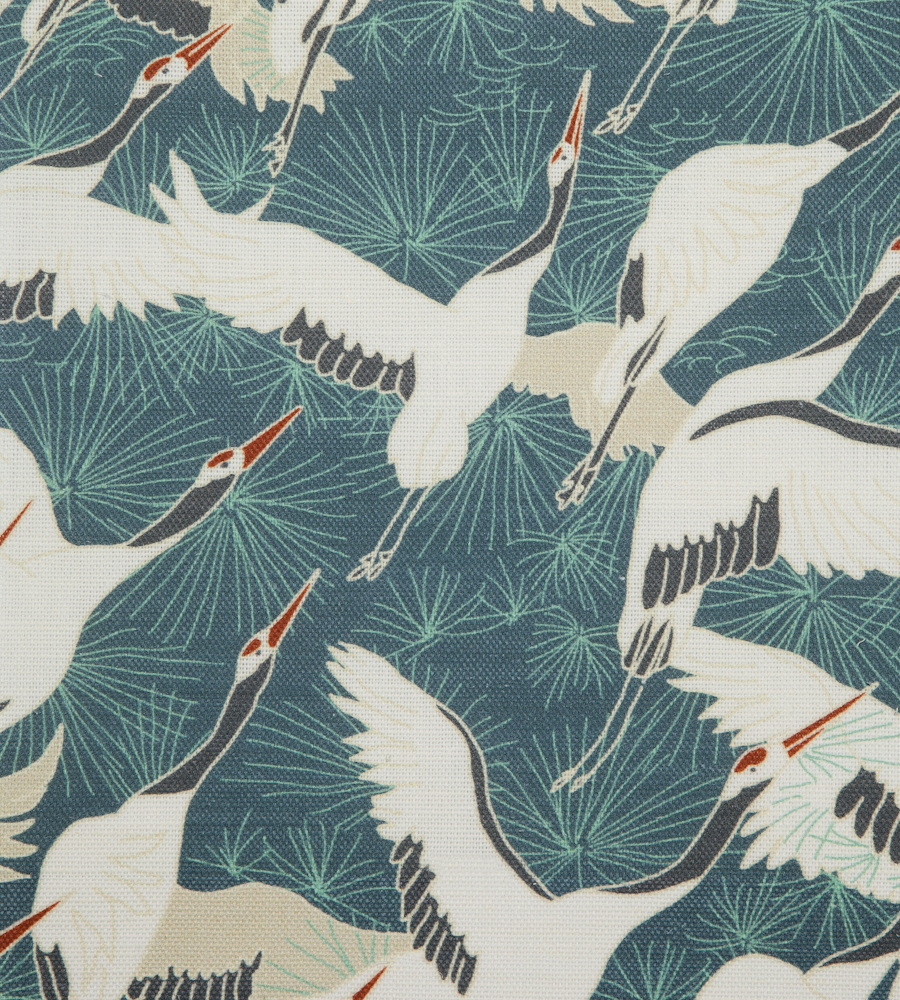 Cranes Blue Linen Union Fabric Emily Burningham
