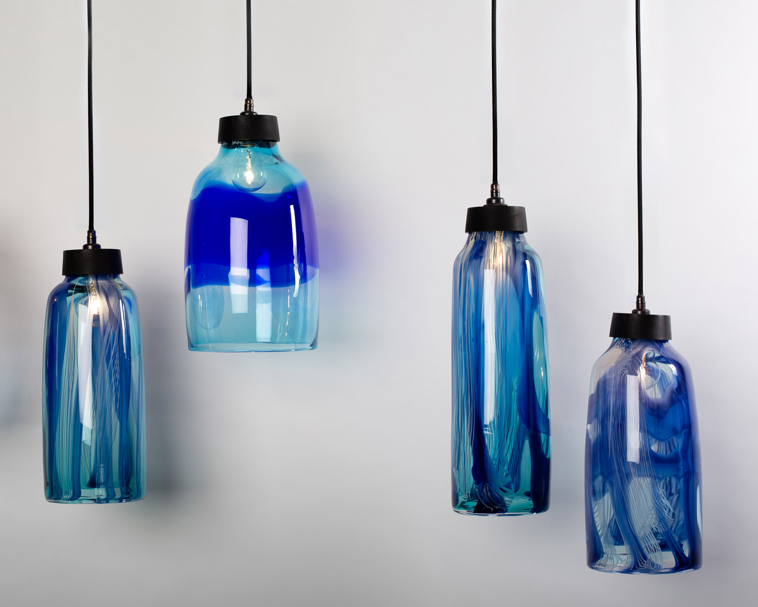 Present collect at contemporary applied arts town country image hand blown blue glass lampshades by michael ruh 980 each courtesy of caa aloadofball Image collections