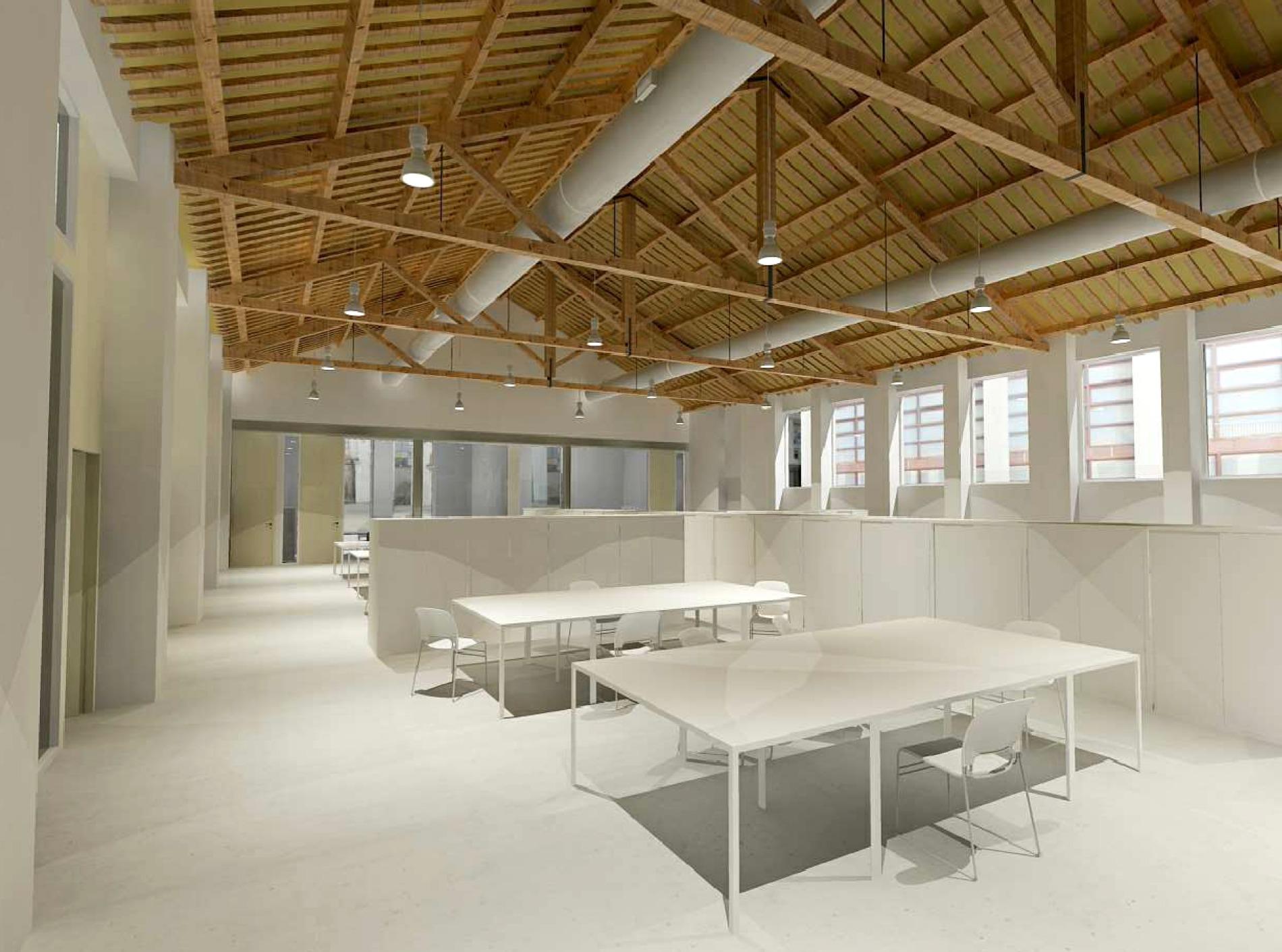 Una imatge virtual del centre de treball que s'instal·lara a la nau de les Encavallades de Roca Umbert