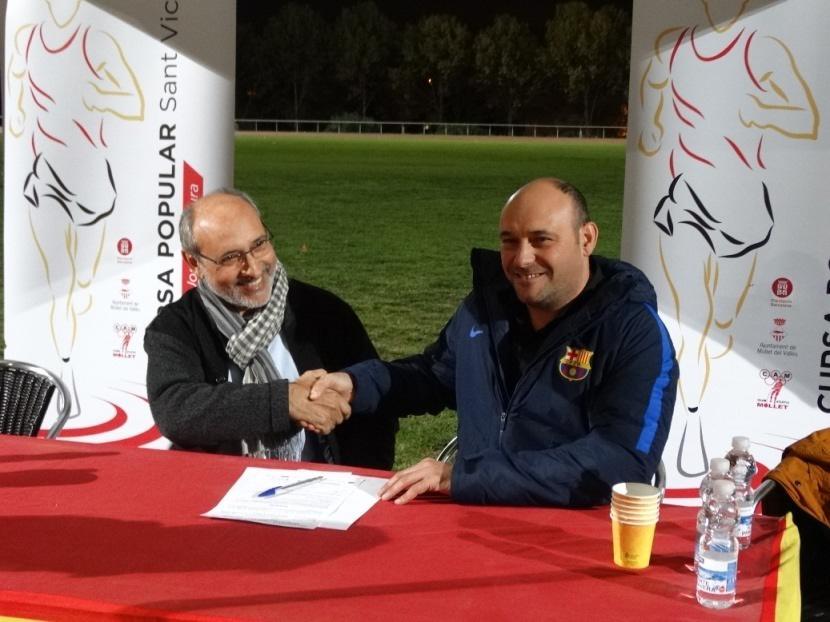 Les dues entitats van signar l'acord a les pistes municipals d'atletisme de Mollet