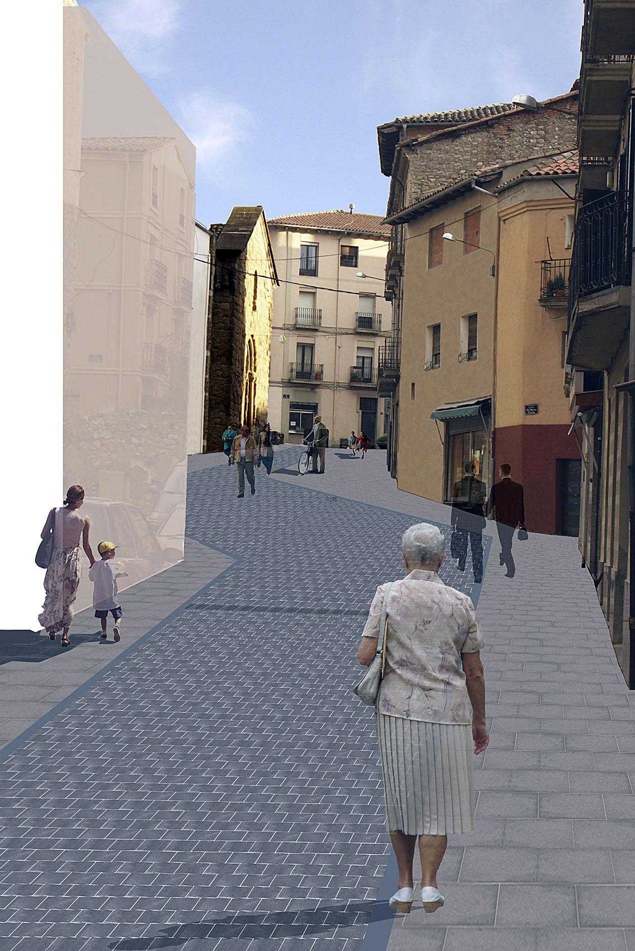 Recreació virtual de l'aspecte que tindrà el carrer Berenguer Arnau després de les obres