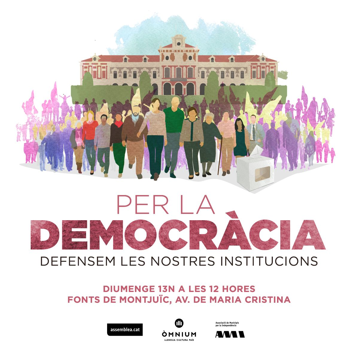 La manifestació s'ha convocat conjuntament per l'Assemblea Nacional Catalana, Òmnium i l'AMI