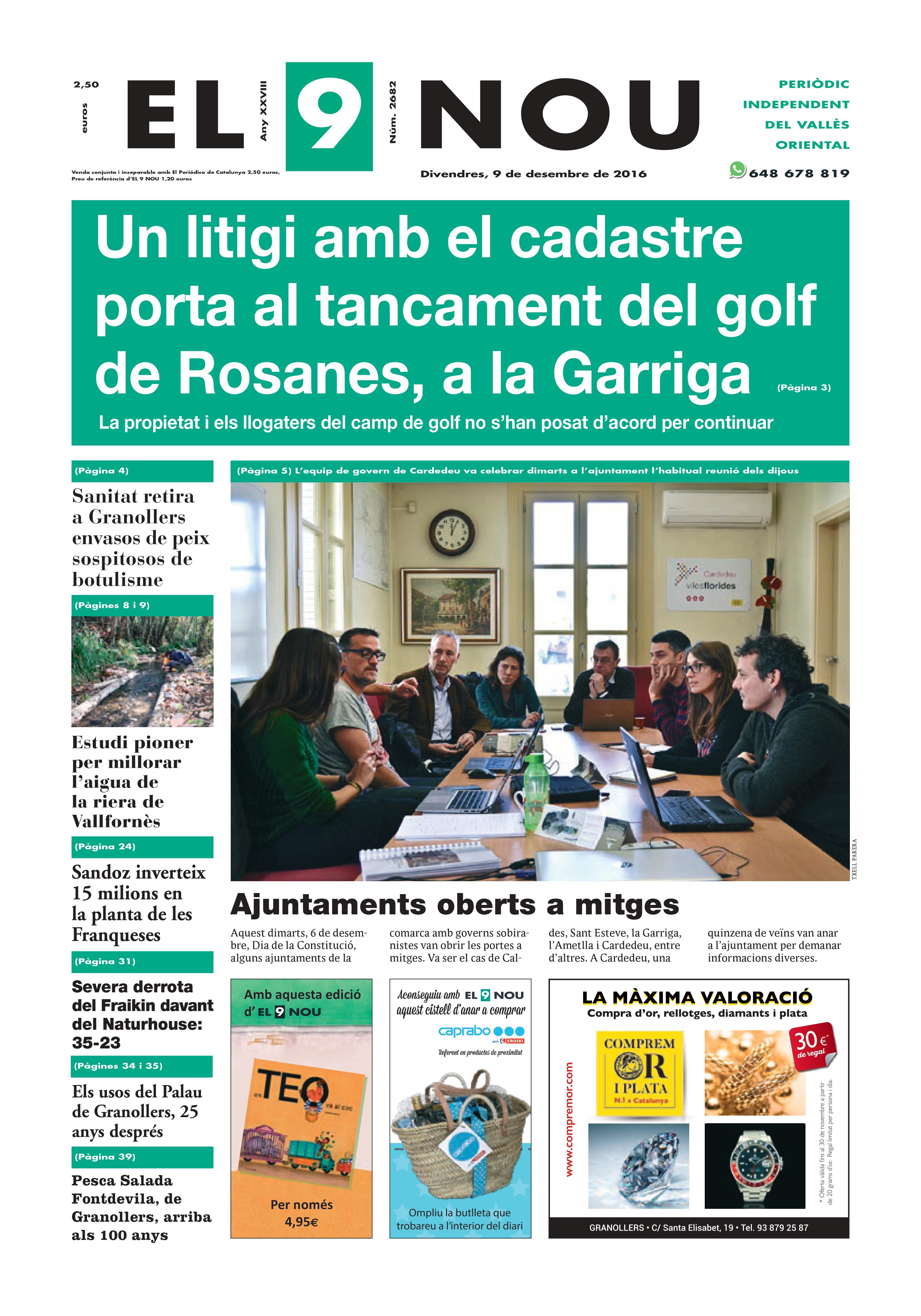 La portada del divendres 9 de desembre de 2016