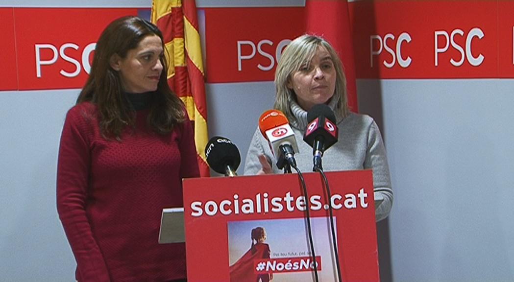 Imatge del PSC durant la roda de premsa sobre la proposició de llei de creació de la comarca del Lluçanès