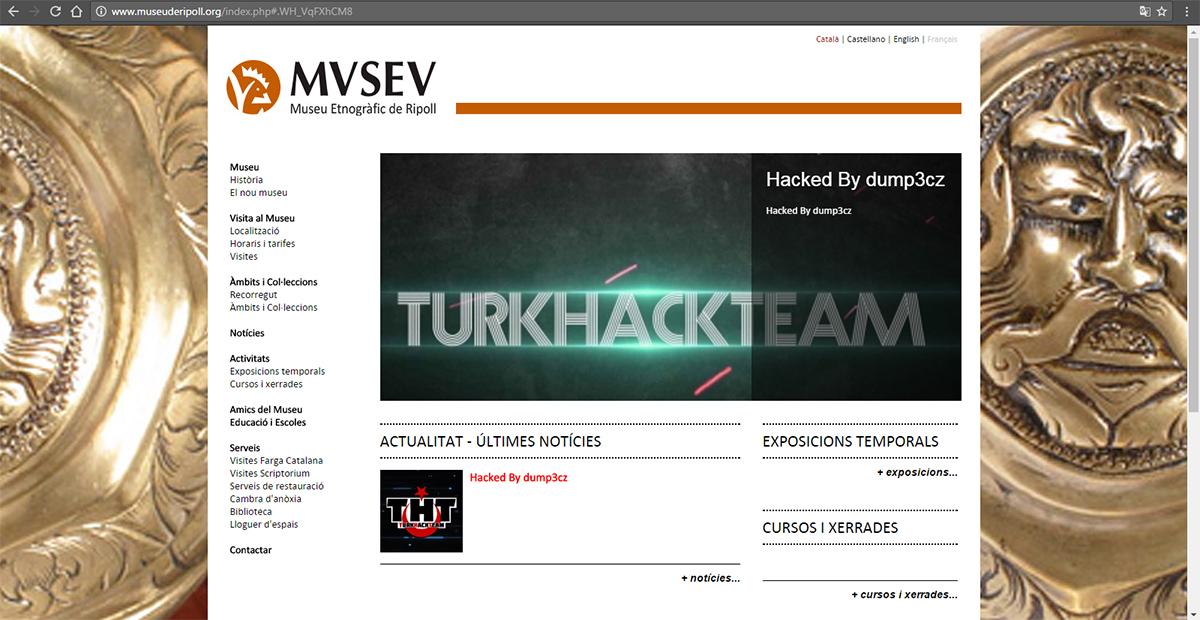 Aspecte del lloc web amb una part de la portada manipulada