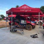El Toyota amb el quedebuta Nani Roma preparat per les verificacions a Asunción