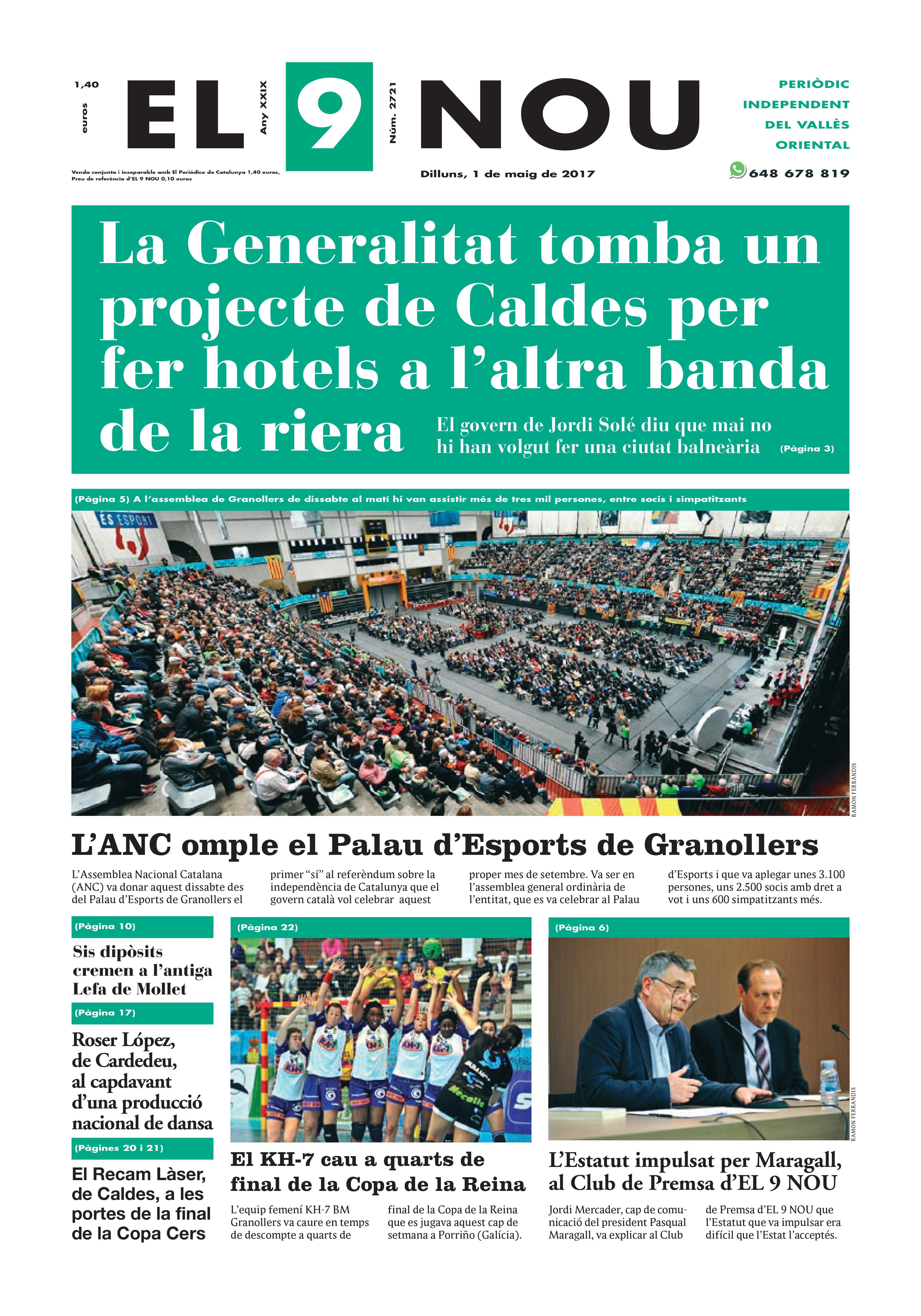 La portada del dilluns 1 de maig de 2017