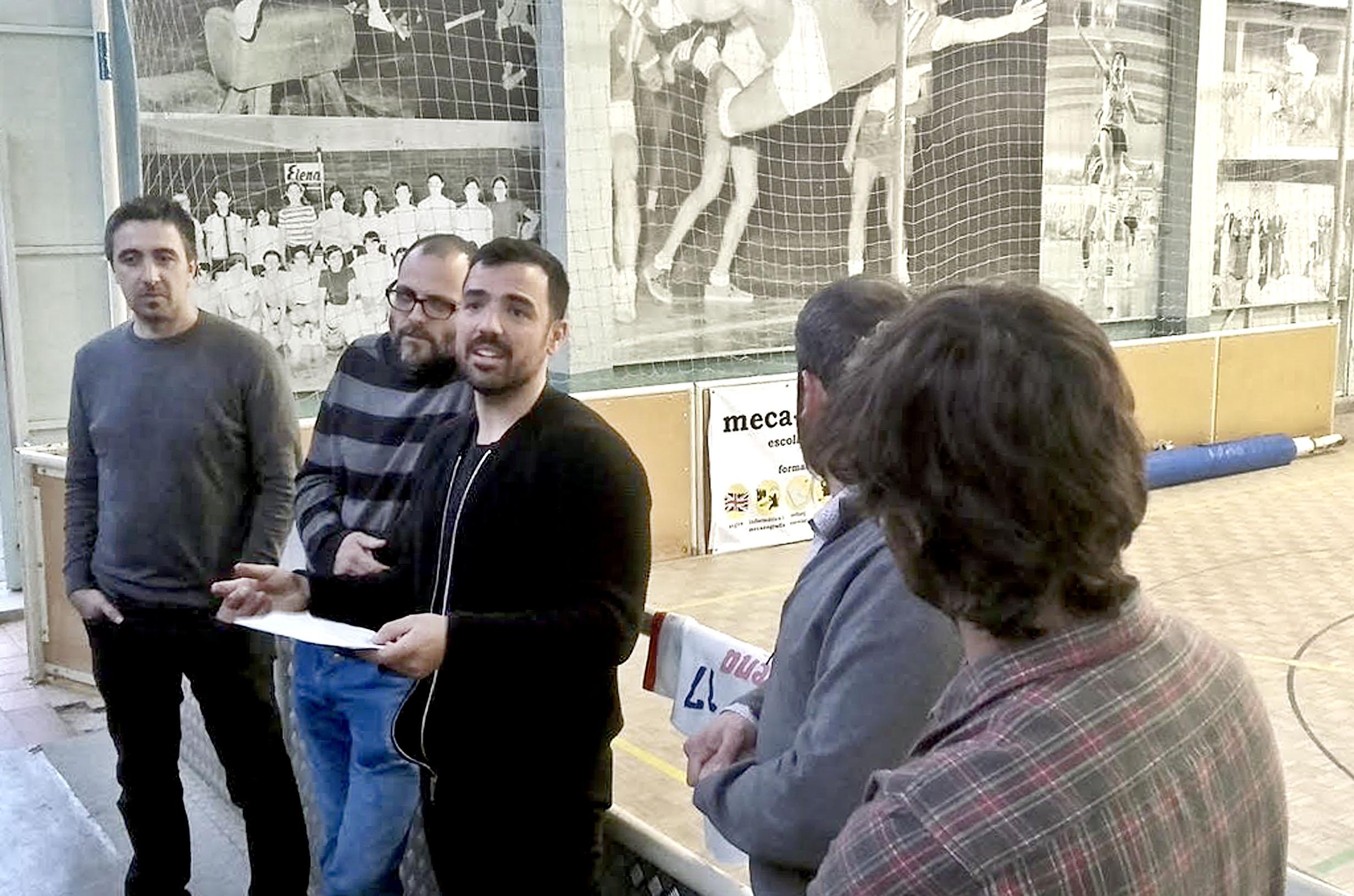 D'esquerra a dreta, Txus Pérez, Pau Llobet, Jordi Serra, Oriol Solé i Martí Pujadas, dimarts a la presentació de l'entitat