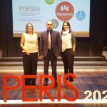 Marta Ferrer, Xavier Palomar i Helena Sureda, aquest dimecres després de rebre les beques a Barcelona