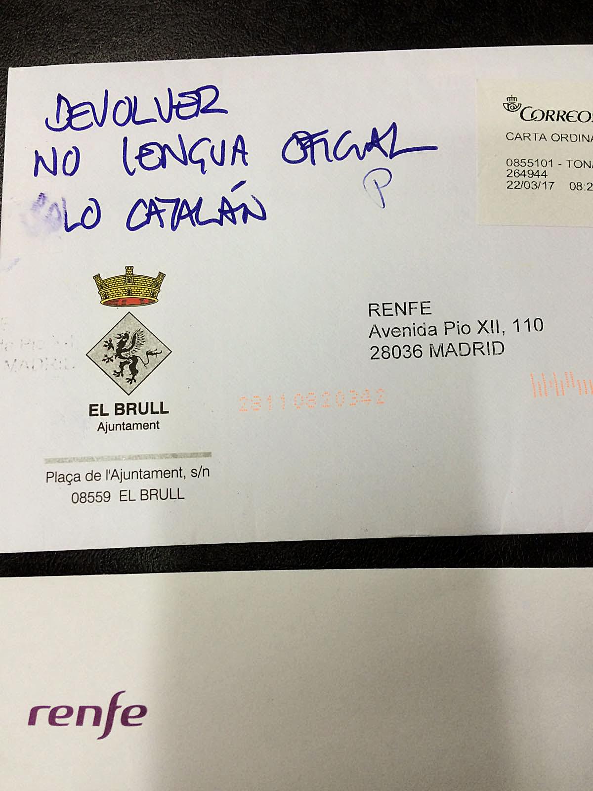 Carta retornada per Renfe a l'Ajuntament del Brull