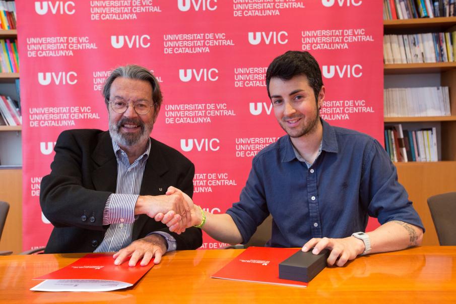 El rector de la UVic, Jordi Montaña, i l'alcalde Sant Vicenç, Èric Sibina