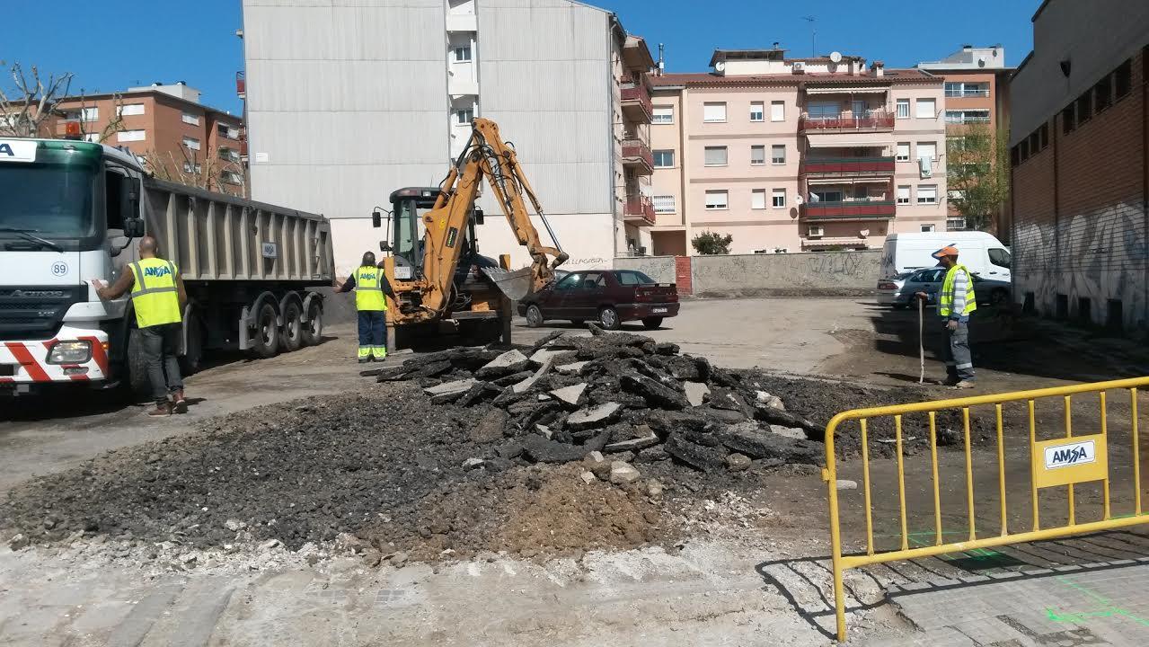 Imatge de les obres a la zona de Sant Pancraç