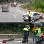 Dos dels accidents que s'han produït aquest matí, tots dos a Tagamanent