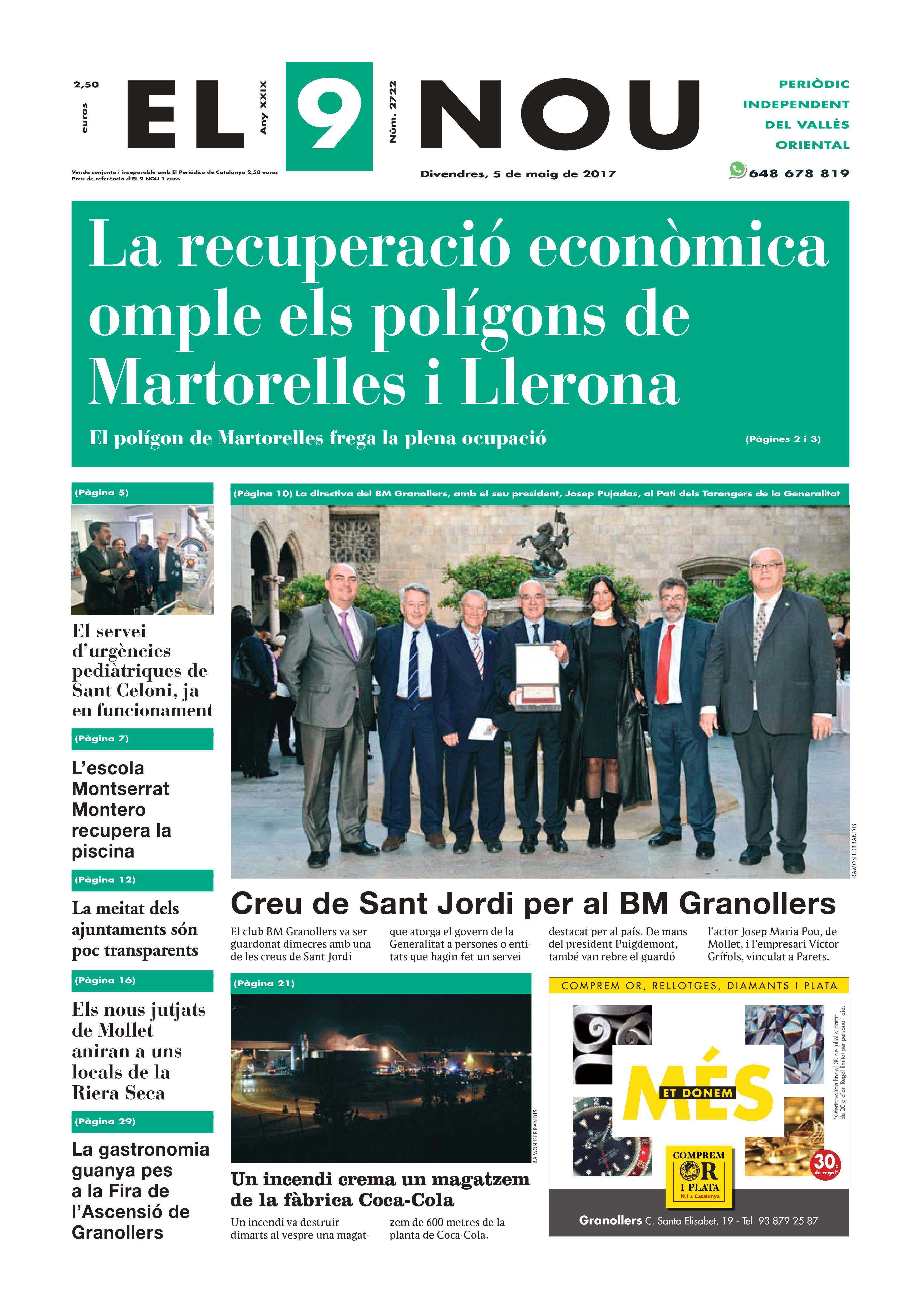La portada del divendres 5 de maig de 2017