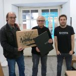 Marc Valls, maquetador; Jordi Pagès, artista, i David Caño, poeta