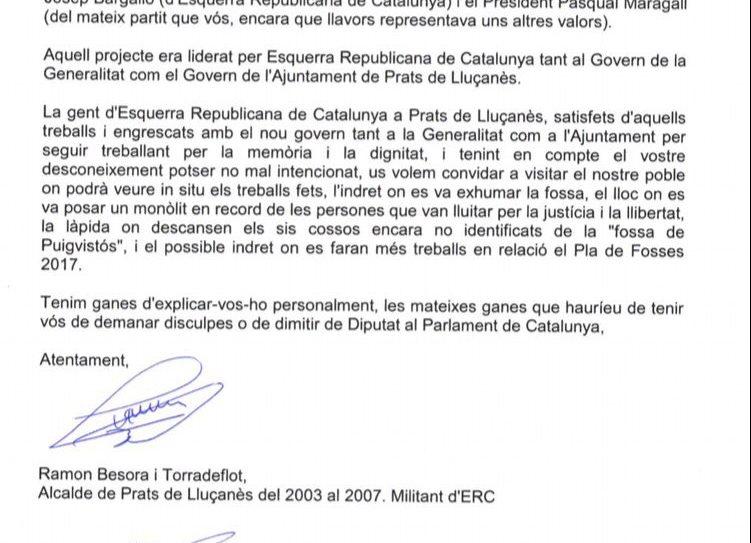 Carta que han adreçat al diputat David Pérez