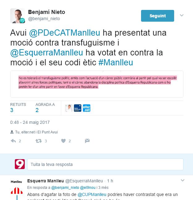 Un fragment de la conversa entre Nieto i Esquerra Manlleu