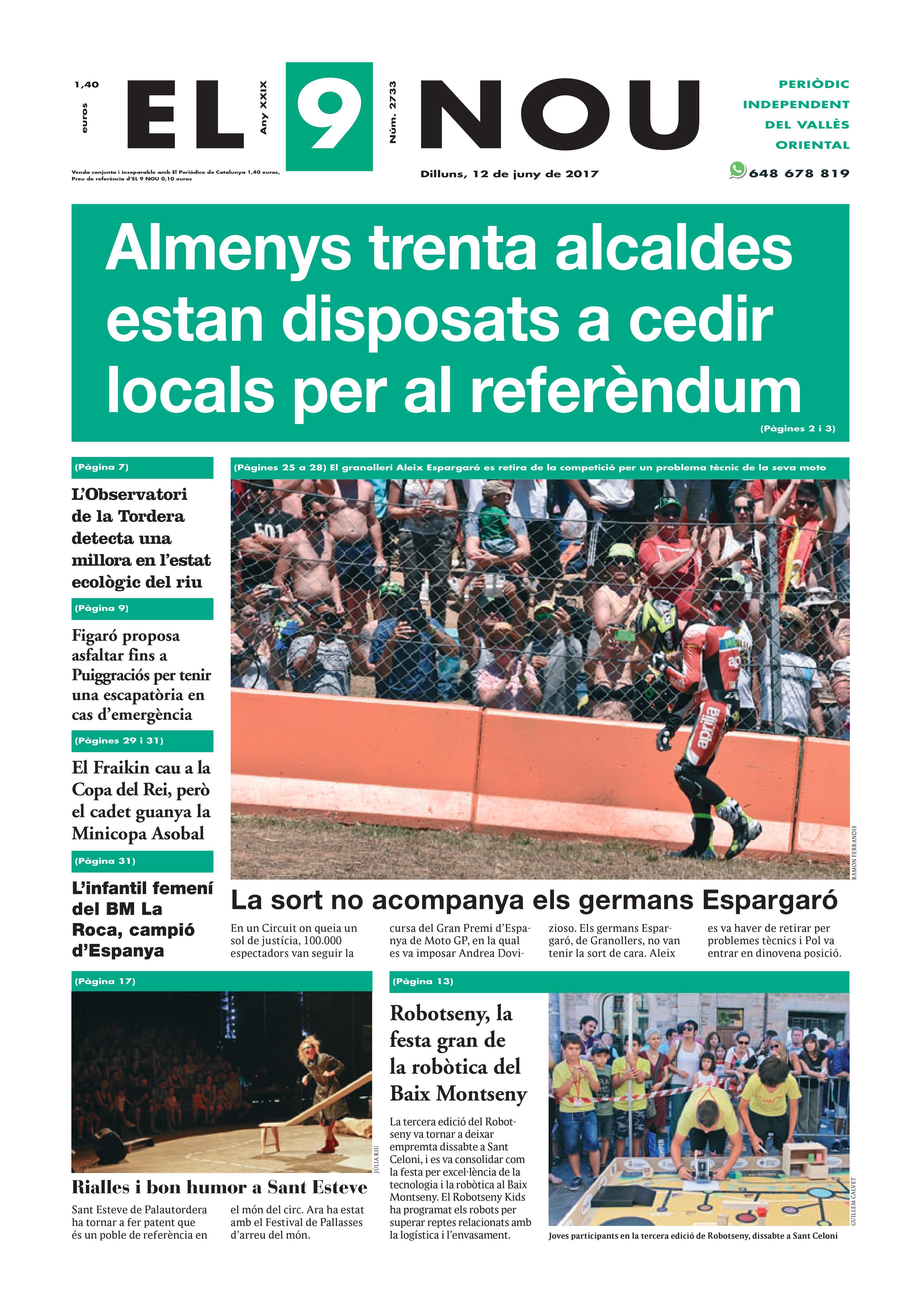 La portada del dilluns 12 de juny de 2017