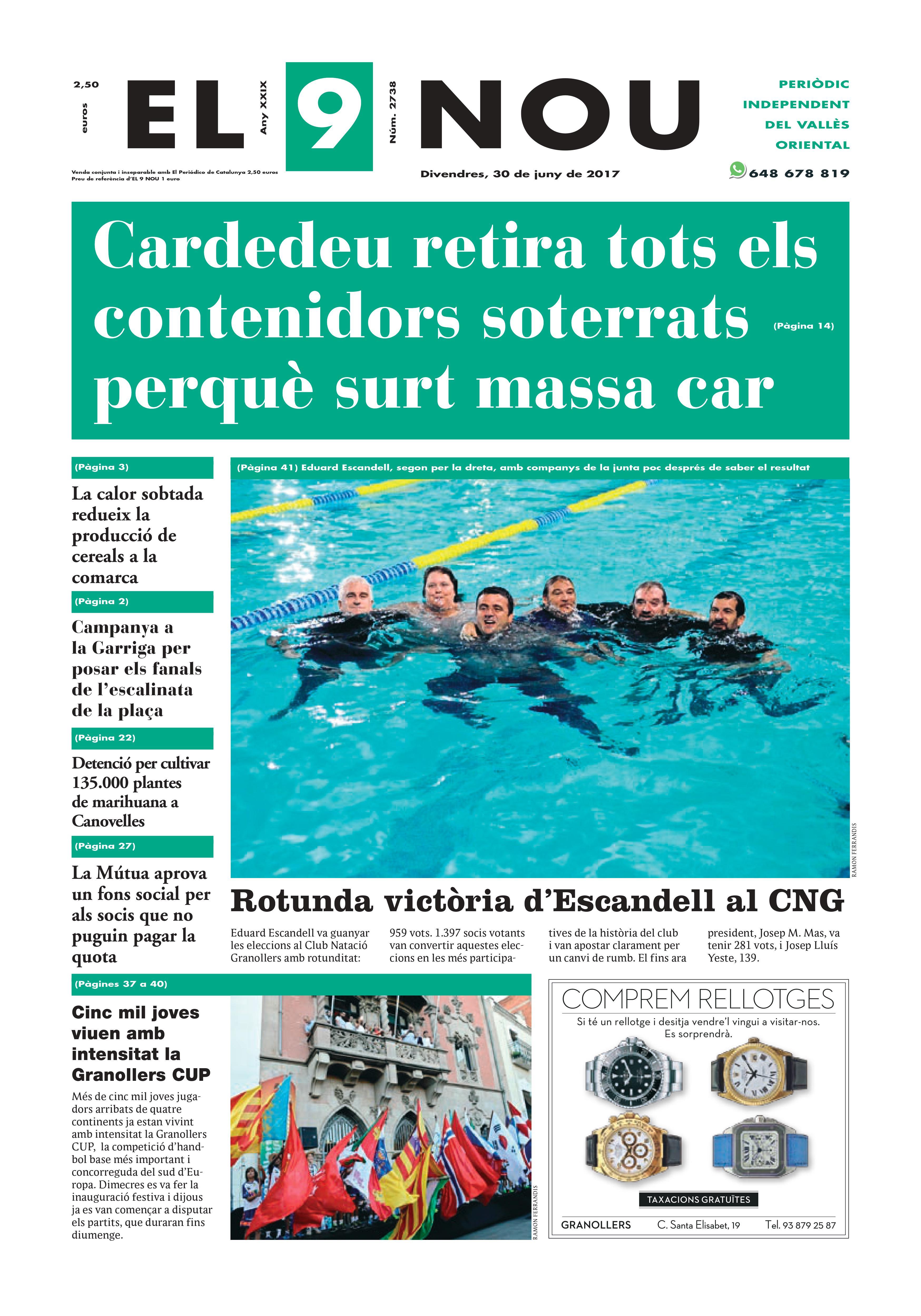 La portada del divendres 30 de juny de 2017