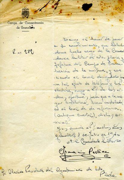 El document que concreta el lloc on hi havia el camp de concentració / Arxiu Municipal de Granollers