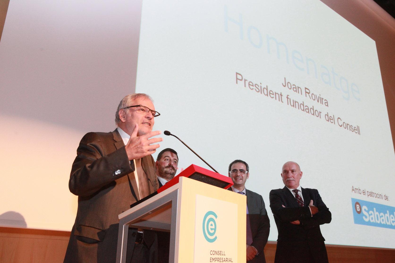 Joan Rovira, en un acte del Consell Empresarial d'Osona