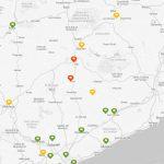 Mapa de l'estat de les diferents estacions d'anàlisi de l'aire a Catalunya